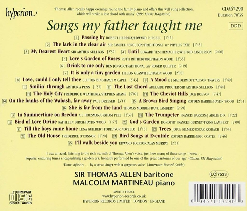 Songs My Father Taught Me Hyperion Records CDA67290
